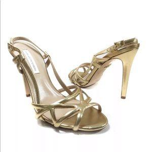 Diane Von Furstenberg DVF Gold High Heel Sandals